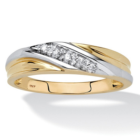 Men's 1/10 TCW Round Diamond 10k Yellow Gold Diagonal Wedding Band Ring
