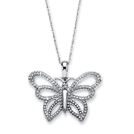 Diamond Accent 10k White Gold Butterfly Pendant and Rope Chain 18
