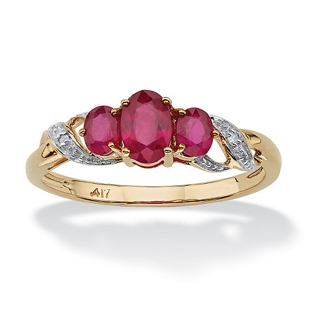 1 TCW Round Genuine Ruby with Diamond Accents 10k Yellow Gold Ring