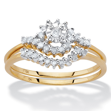 1/2 TCW Round Diamond 10k Yellow Gold Bridal Engagement Wedding Cluster Ring Set