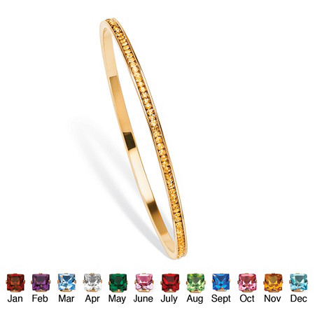 Simulated Birthstone Stackable Eternity Bangle Bracelet in Yellow Gold Tone