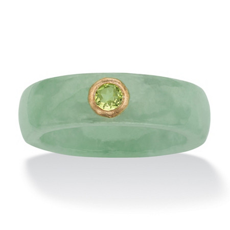 .26 TCW Round Genuine Peridot and Genuine Green Jade 10k Yellow Gold Band Ring