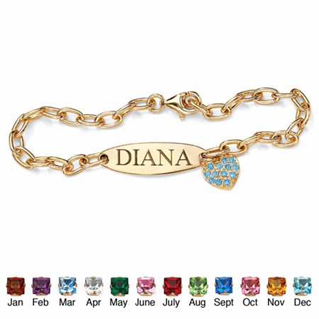 Simulated Birthstone 18k Yellow Gold over Sterling Silver Personalized Heart Charm Bracelet 7 1/2