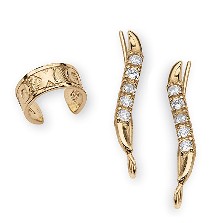 .33 TCW Round Cubic Zirconia Ear Pins« and X & O Ear Cuff in 18k Gold over Sterling Silver