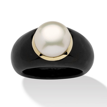 Round Cultured Freshwater Pearl Black Jade 10k Yellow Gold Ring