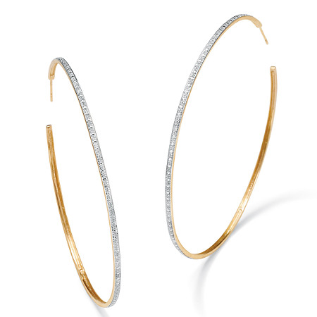 Diamond Accent 18k Gold over Sterling Silver Hoop Earrings