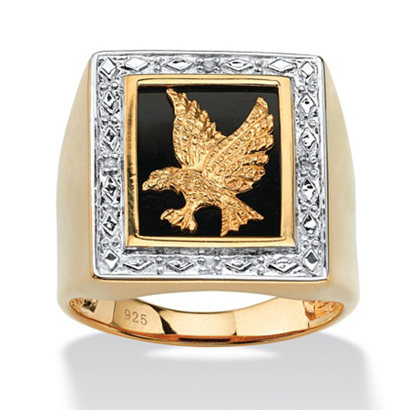 Men's Diamond Accented Genuine Onyx Eagle Ring in 18k Yellow Gold over Sterling Silver