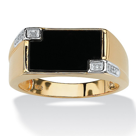 Men's Genuine Onyx Diamond Accent 18k Gold over Sterling Silver Rectangular Ring