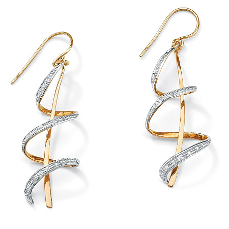 Diamond Accent 18k Gold over Sterling Silver Ribbon Drop Earrings
