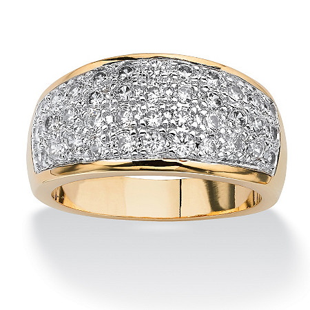 1.25 TCW Round Cubic Zirconia Pave 14k Gold-Plated Ring
