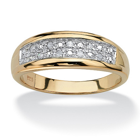 Men's 1/8 TCW Round Diamond 18k Gold over Sterling Silver Pave Wedding Band