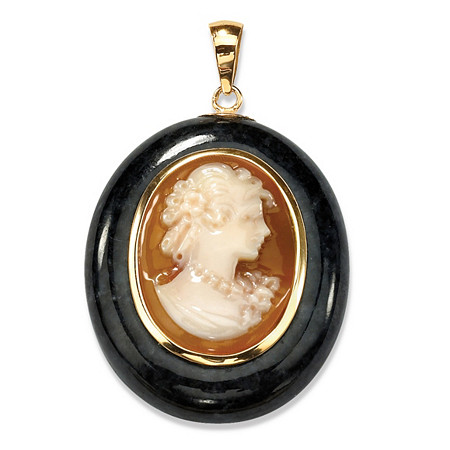 Oval-Shaped Genuine Onxy and Genuine Shell Cameo 10k Yellow Gold Drop Pendant