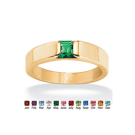 Princess-Cut Simulated Birthstone 18k Gold over Sterling Silver Ring