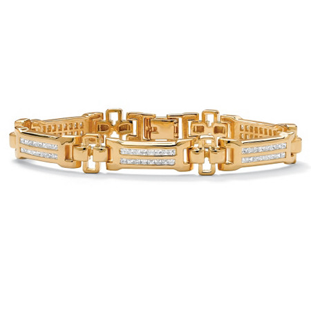 Men's 3.52 TCW Channel-Set Cubic Zirconia 18k Gold-Plated Bar-Link Bracelet 8