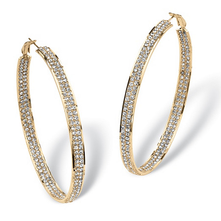 Crystal Inside-Out Hoop Earrings in Yellow Gold Tone 3