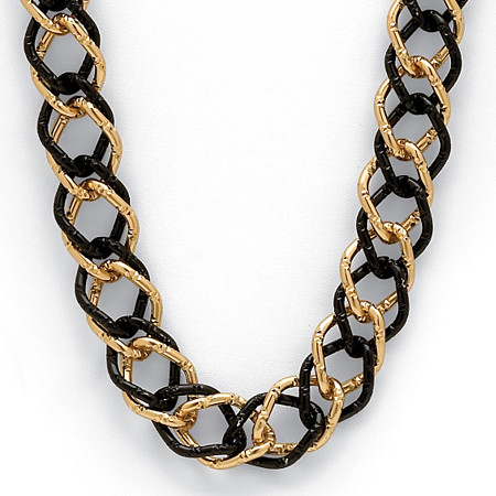 Yellow Gold Tone Black Rhodium-Plated Curb-Link Necklace 34
