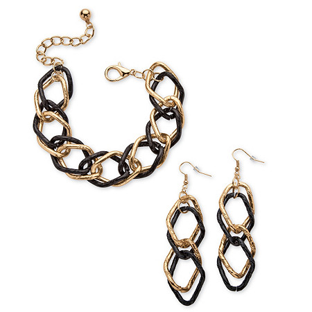 Gold Tone Black Ruthenium-Finish 2-Piece Curb-Link Bracelet 8 and Drop Earrings Set