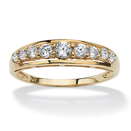.93 TCW Round Cubic Zirconia 10k Yellow Gold Channel-set Wedding Anniversary Band