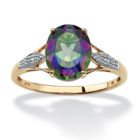 3.51 TCW Oval-Cut Genuine Mystic Topaz with Diamond Accents 10k Yellow Gold Ring
