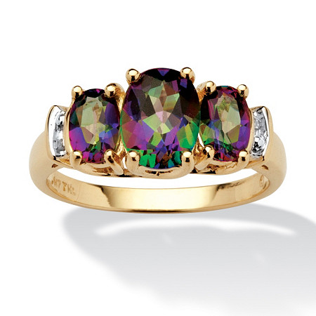 2.75 TCW Oval-Cut Genuine Mystic Topaz and Diamond Accent 10k Yellow Gold Ring