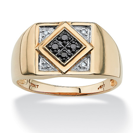 Men's .10 TCW Round Black and White Diamond 10k Yellow Gold Classic Ring