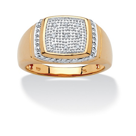 Men's Round Pave Diamond Accent 18k Yellow Gold Over Sterling Silver Ring