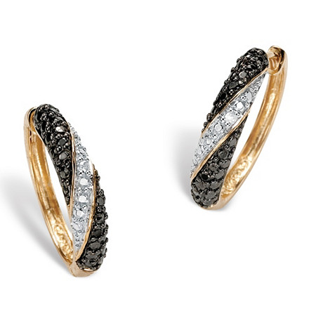 Black and White Diamond Accent 18k Yellow Gold Over Sterling Silver Hoop Earrings