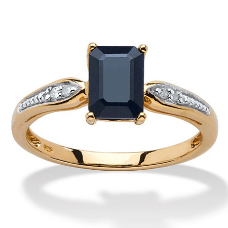 1.15 TCW Emerald-Cut Genuine Midnight Blue Sapphire 18k Yellow Gold Over Sterling Silver Ring