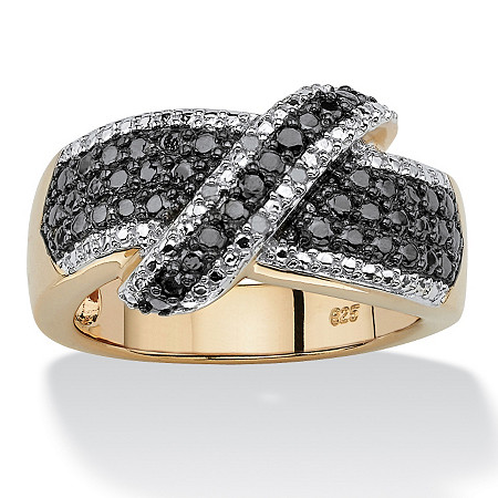 1/10 TCW Round Black and White Diamond 18k Gold over Sterling Silver Cross-over Ring