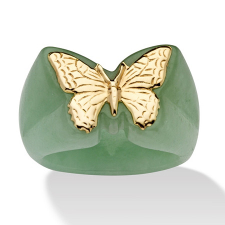 Genuine Green Jade 14k Gold Butterfly Ring