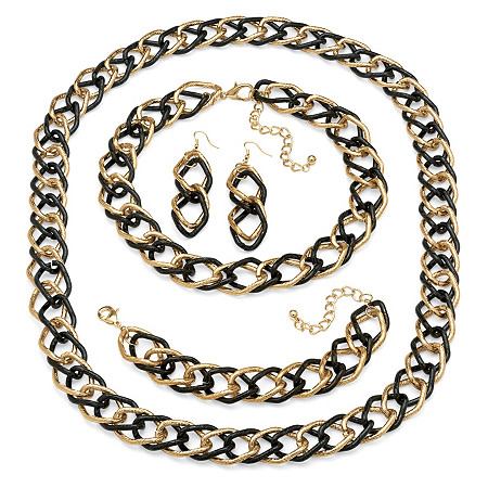 Yellow Gold Tone and Black Rhodium-Plated Double Curb-Link Necklace, Bracelet and Earring Set