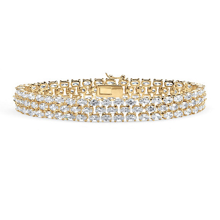 28.60 TCW Oval Cut Cubic Zirconia 18k Gold-Plated Triple-Row Tennis Bracelet 8 1/2