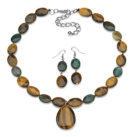 Oval-Cut Shell and Jasper Silvertone Adjustable 18 to 21 Necklace and Earrings Set