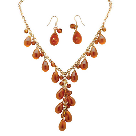 2 Piece Pear-Shaped Amber Beaded Y Necklace and Drop Earrings Set in Yellow Gold Tone