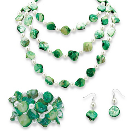 3 Piece Green Shell and Pearl Necklace, Bracelet and Earrings Set in Silvertone