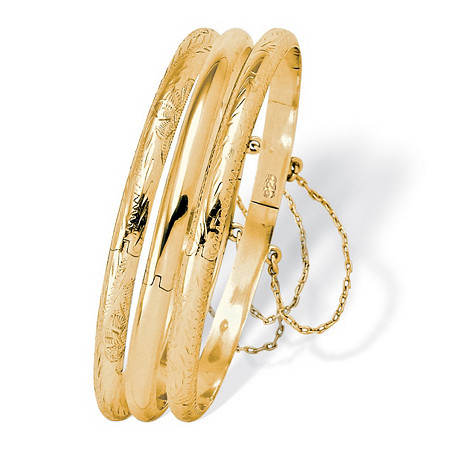 3 Piece Bangle Bracelet Set in 18k Gold over Sterling Silver