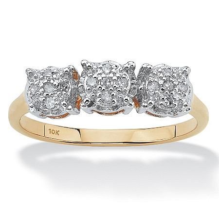 1/10 TCW Round Diamond Three Stone Anniversary Ring in 10k Gold