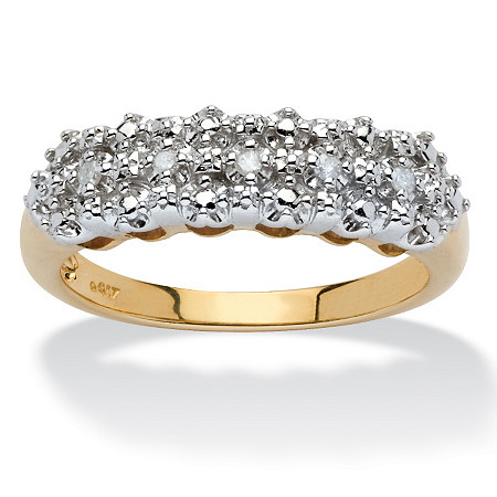 Pave Diamond Accented Cutout Ring in 10k Gold