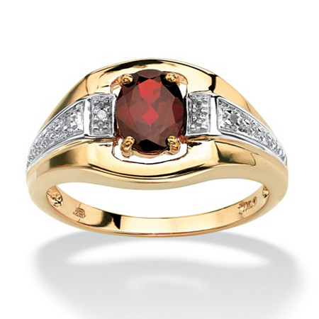 Men's 1.40 TCW Oval-Cut Garnet and Diamond Accented Ring in 18k Gold over Sterling Silver