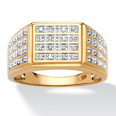 Men's 1/6 TCW Pave Diamond Multi-Row Ring in 18k Gold over Sterling Silver