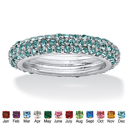 Pave-Set Simulated Birthstone Sterling Silver Triple-Row Eternity Band Ring