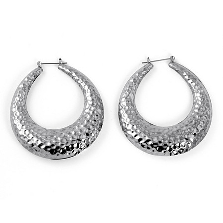 Silvertone Hammered-Style Hoop Earrings 2 Diameter