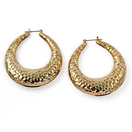 Hammered-Style Hoop Earrings in Yellow Gold Tone