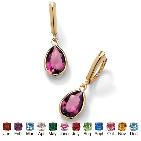Simulated Birthstone 18k Gold over Sterling Silver Drop Earrings