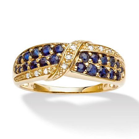 1.13 TCW Genuine Midnight Blue Sapphire 18k Gold over Sterling Silver Ring