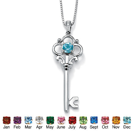 Round Simulated Birthstone Sterling Silver Key Pendant and Chain 18