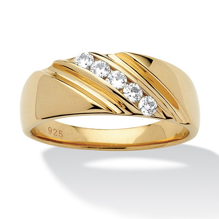 Men's .50 TCW Round Cubic Zirconia 18k Yellow Gold Over Sterling Silver Diagonal Wedding Band Ring