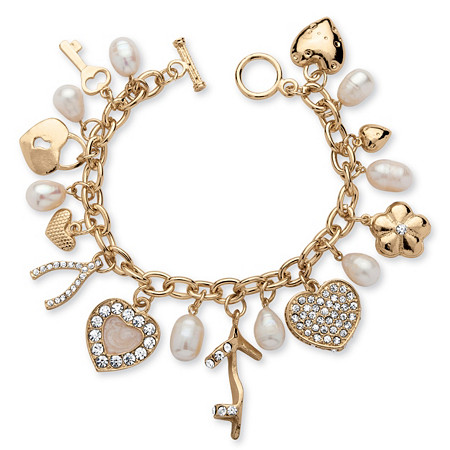 Fashionista Cultured Freshwater Pearl and Crystal Charm Bracelet in Yellow Gold Tone