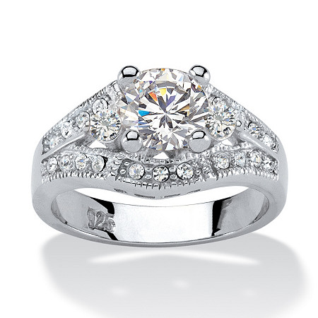 1.56 TCW Round Cubic Zirconia Platinum over Sterling Silver Engagement Anniversary Ring