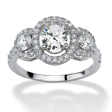 2.21 TCW Oval-Cut Cubic Zirconia Engagement Anniversary Halo Ring in Platinum over Sterling Silver